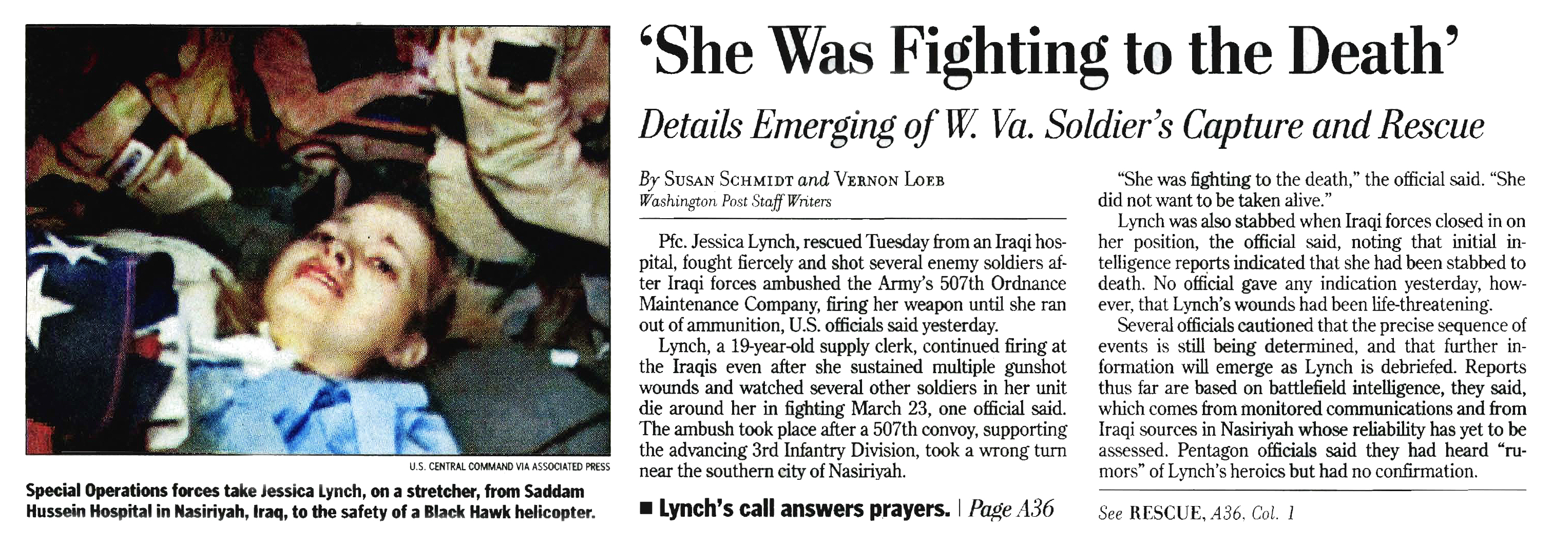 Image result for the rescue of jessica lynch in 2003 newspaper articles